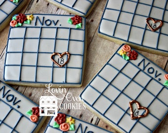 Save the Date Decorated Sugar Cookies - 1 Dozen