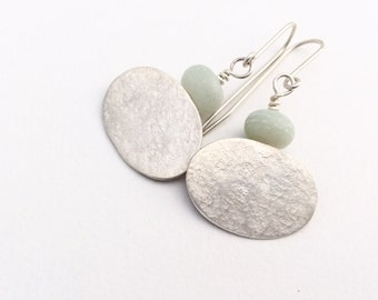 Amazonite and Silver Oval Earrings
