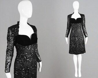 RESERVED Vintage GIVENCHY Couture 90s Party Dress Black Sequin Lace Unworn Runway Dress Velvet Bust Edgy LBD Dress Little Black Dress 1990s