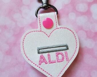 Aldi Quarter Keeper Aldi Keychain Aldi Quarter Holder Cart Coin Key Fob - Pink and White