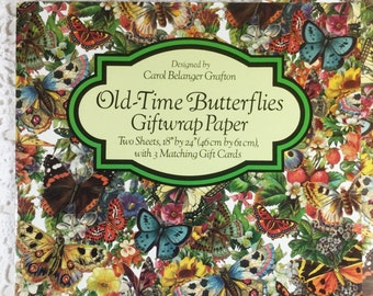 OldTime Butterflies Giftwrap Paper Giftwrap2 Sheets 1 Designs