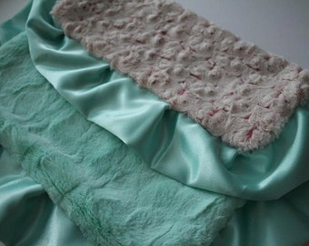 Rose Swirl in Beige and Coral with Mint Minky and Mint Satin Trim - Lovie Blanket, Baby Shower, Nursery, Bedding, Crib