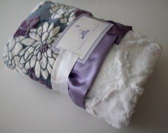 Mar Bella Ibiza Collection in Violeta Purple, Gray and White - Marbella, Baby Blanket, Lavender, Grape, Plum