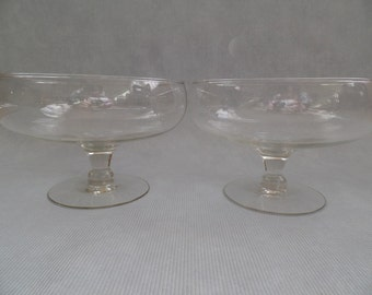 Vintage Glass Stemmed Serving Compotes, Bowls, Clear Pair Centerpieces, Two Matching Pretty Buffet Salad Server Dishes, West Virginia WV
