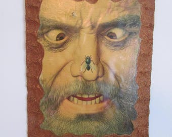 Fly on Nose, Unique Picture, Shellac Print, Angry Man Art, Game Room Decor, Man Cave Gift, Man Print, Man Art, Cork Board Art, Unique Gift