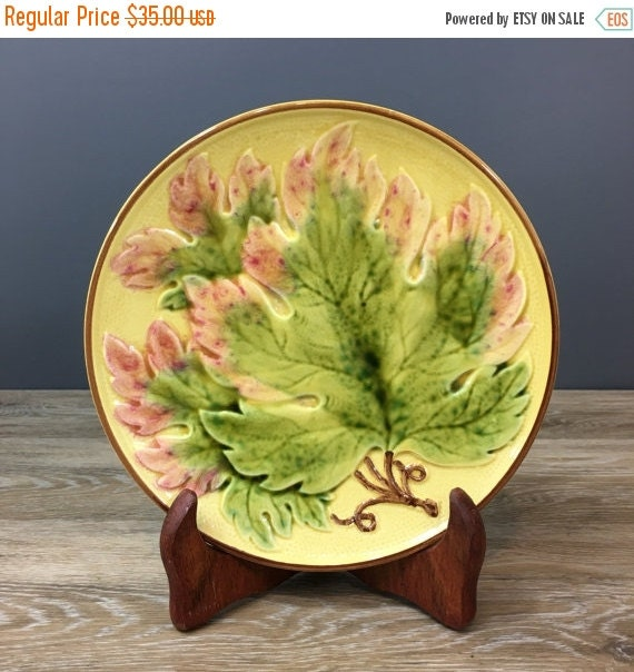ON SALE Antique Zell Majolica Plate, Rose Tipped Maple Pattern, Zell Germany Pottery, George Schmider