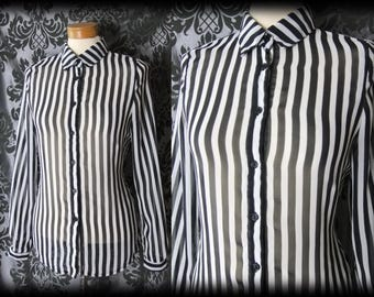 Goth Black White Sheer POSSESSION Candy Stripe Blouse Shirt Blouse 8 10 Quirky