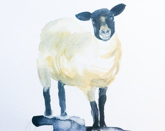 SHEEP, original watercolor painting, farm animal nursery decor, real Watercolor, original art, original real painting of a cute animal.