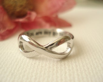 Personalized Sterling Silver Infinity Ring... Custom engraved ring, forever friends, forever and always, eternity ring, Best friends