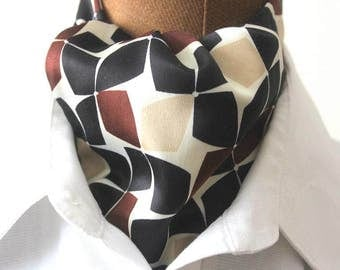 Ascot,ascot tie,men scarf with interesting pattern in silk,retro