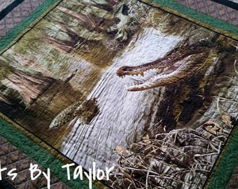 Crocodile Quilt, Wildlife Quilt, Nature Quilt, 46 X 53 finished Lap Quilt or Wall Hanging