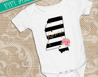 Mississippi home, Black & White Strip faux gold glitter dots, pink watercolor flower accent on White onsie Snap bottom all in one bodysuit