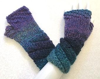 Knit Fingerless Gloves, Blue-Lavender Hand Warmers, Fingerless Mitts, Caribbean Blues, Twist Cuff, FG-TC100