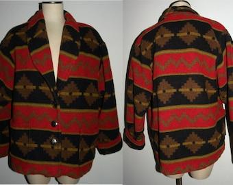 1990s 90s Indian Blanket Jacket / Coat / Vintage Southwest Pattern / Sharon Young Dallas made USA / Boho Bohemian
