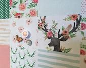 Tableau d'affichage babillard aimanté recouvert tissu rustique chic rose vert cerfs fleurs mint organisation bureau mémo chambre décor