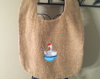 Embroidered Adult bib, Chicken Soup