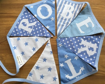 Fabric bunting, personalised name bunting, baby blue and white banner, spots, stars and stripes  nursery bunting, custom bunting