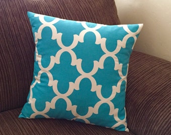 Decorative Pillows for Couch - Teal Quatrefoil Pillow Covers