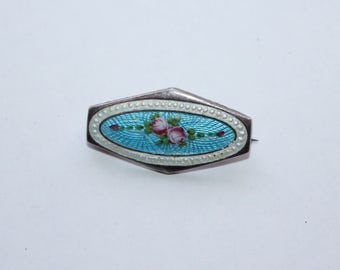Vintage antique Victorian guilloche enamel rose brooch set in silver