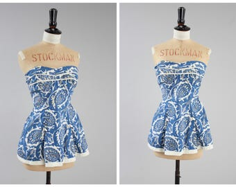 Vintage original 1950s 50s Baums Southend Slix bathing suit top blue novelty floral print UK 6 US 2 XS