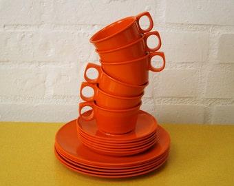 Vintage Rosti melamine set of plates and cups