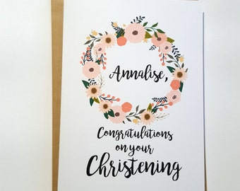Personalised Congratulations on your Christening/Baptism Card for Baby Girl