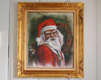 Framed Santa Claus Painting, Large 32 x 28 Signed Father Christmas Acrylic Painting, St. Nicholas Holiday Wall Art Mantle, Cindy Markowski
