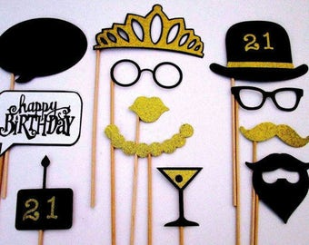 21st Birthday Party Photo Booth Props In Black And Gold Glitter Paper!