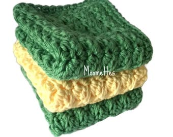 Handmade Dish Cloths Green Pale Yellow Wash Cloths Crochet Kitchen Dishcloths Eco Friendly Cotton Set of 3