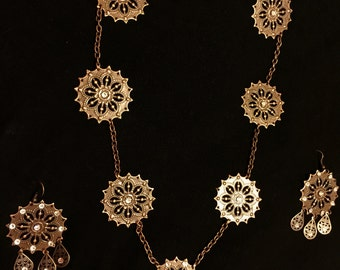 Copper Filigree Swarovski Chandalier Necklace & Earrings Set** FREE SHIPPING**