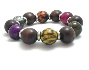 Round Wood and Ceramic Bead Bracelet, Colorful Beaded Bracelet, Multicolor Wooden Stretch Jewelry, Vegan Jewelry, Vegan Bracelet, Silvertone