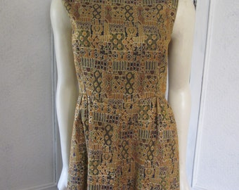 "1960s Gold and Tan Brocade Sleeveless Gown for ""Mary Sachs, Harrisburg,"" Size 6"