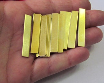 1/4 x 1 1/2  - Brass Bar Blanks - 22G -Tumbled - rounded corners -  Hand stamping metal Blanks 5 count or more - vertical bar blanks