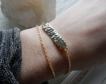 Gold Bar Bracelet | Gold Dainty Bracelet Gold Bracelet Hammered Bar Bracelet Dainty Gold Bracelet Delicate Bracelet Layered Gold Bracelet