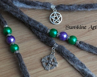 Grey wool clip in dreads, Pentagram charm, Celtic Cross charm, pearlescent beads, Tibetan silver, white witch, boho fashion, hair accessory
