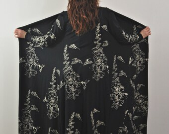 Luxurious Bamboo Robe, Long Black Robe, Floral Print Robe, Hummingbirds and Hollyhocks, Waterfall Opening