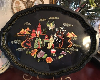 Vintage Chinoiserie black tray with chinese village scene