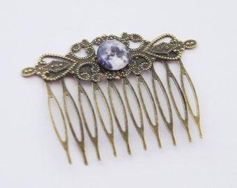 Moon Hair Accessories, Moon Hair Clip, Full Moon Comb, Full Moon Hair Clips, Cosmos Hair Comb, Sci-fi Hair Clip, Geek Gifts, Moon jewelry