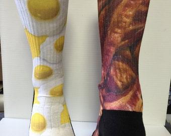 Custom Seths Socks Bacon and Eggs Socks
