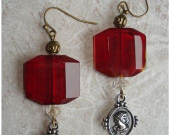 "Earrings ""Red Victoria"" style retro classic neo"