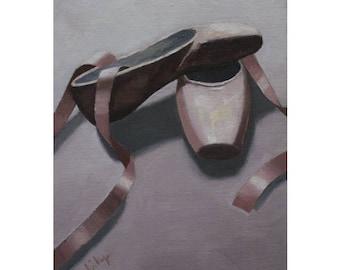 """Oil Painting ''Ballet Shoes"""" Painting, Fine Art Oil on Canvas Panel, Dance Studio Home Decor 18x24cm"""