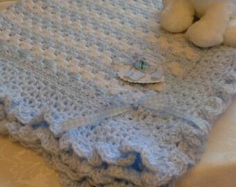 FREE SHIPPING  BABY Afghan Blue Baby Blanket Granny Baby Afghan Baby Boy Afghan Blue Baby Afghan Crochet Boy Blanket Ruffled Baby Blanket