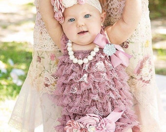 Dusty Rose Lace Romper/ Baby Romper/Baby Girl Romper/Girl Lace Romper/Lace Romper/Baby Lace Romper/Petti Romper/Lace Romper Baby/Photo Prop