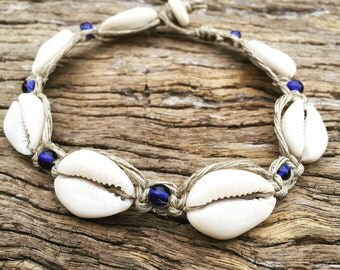 Hand Made Hemp Anklet with Cowrie Shells & Navy Blue Glass Beads, Sea Gypsy Bohemian