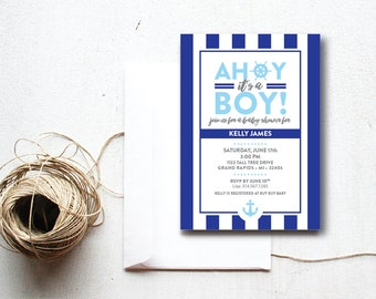 INSTANT DOWNLOAD baby shower invitation / nautical baby shower / ahoy it's a boy invite / DIY shower invite / baby boy shower / sailor theme