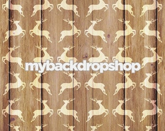 2ft x 2ft Christmas Reindeer on Wood Photography Backdrop - Holiday Wood Backdrop - Christmas Photo Prop - Exclusive Design - Item 3021