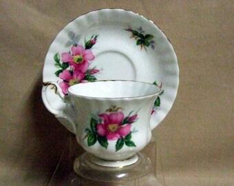 Royal Albert Prarie Rose Tea Cup and Saucer