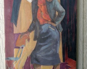 VIntage 1950's Impressionism Oil on Canvas Painting of Young Woman Posing - Signed John William Parker Chicago Artist