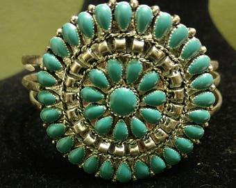 Vintage Faux Silver and Faux Turquoise Petit Point Cuff Bracelet - Vintage Costume Jewelry