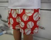 "18"" Boy Doll - Red White Baseball Shorts- Shown on my American Boy Doll"